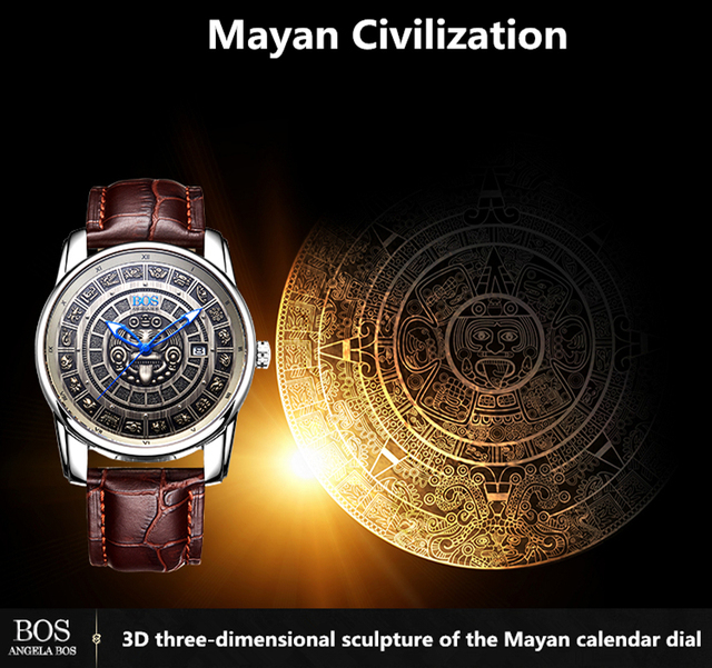 Retro 3D Maya Calendar Dial Stainless Steel Automatic Mechanical Watch For Men