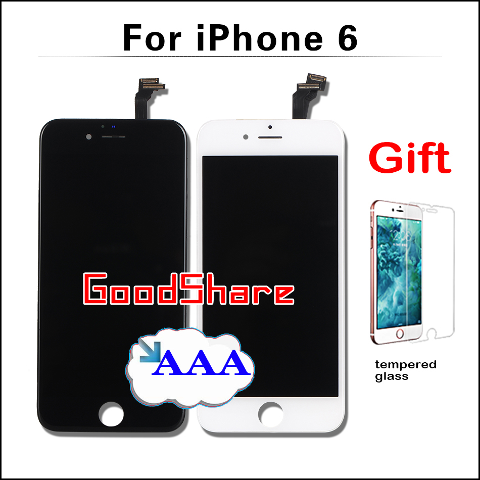 MOQ 1 Piece 100% No Dead Pixel AAA LCD Screen For iPhone 6 4.7 Display Assembly & Touch Glass Digitizer Replacement Black/White