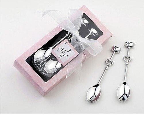 100 set/lotto 'la miscela perfetta' coffee spoon set Love Heart Cucchiai Bomboniera Guest Regalo Spedizione gratuita - 2