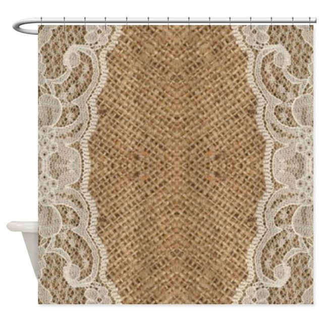 Shabby Chic Burlap Lace Decorative Fabric Shower Curtain For