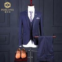 תפורים פס כחול גברים מותג אופנה חליפות טרייל Slim Fit Jacket + מכנסיים + אפוד חליפת החתונה של חתן לנשף 3 Piece S-6XL