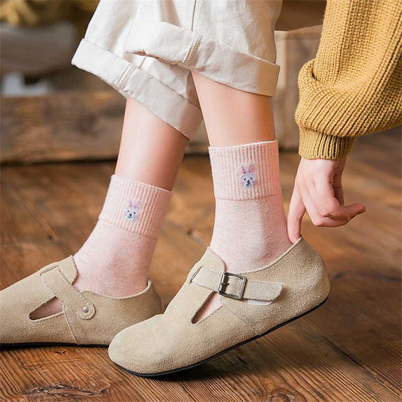 新しいレディースウォームソフト秋冬靴下和風漫画小動物チューブソックスの女の子かわいいクママウスフォックスウサギ sokken