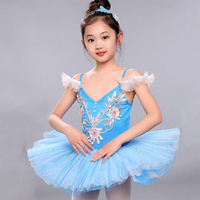 2017 Girl Kids Children Ballet Dance Dress Cropped Tutu Squins 6Colors Ruched Tulle Bubble Skirt Disfraces Dans Kleding Meisjes