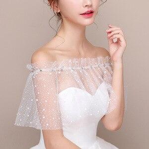 Image 5 - JaneVini blanco estrellas verano boda envoltura Mariage con cuentas hombros caídos chicas Bolero Zunt corto nupcial Cape Lae Up chaqueta de las mujeres