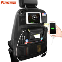 PU Leather Car Back Seat Organizer With USB Port 10 Pockets Hanging Bags For Ipad iPhone Mobile Tissue Umbrella Food Tablet PC