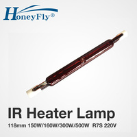 HoneyFly5pcs J118 Infrared Heater Tube150W 160W 300W 500W 110V/220V 118mm Ruby Single Spiral Halogen Lamp Heating Drying Quartz