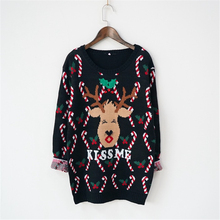 2017 autumn winter Japanese style lovely cartoon Christmas deer printed long sleeve Pullover Sweater female deer knitted wear