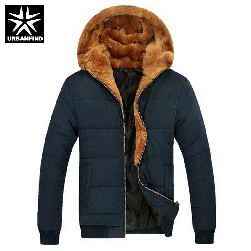 Russian Winter Men Thick Fur Coats Male Warm Outerwear Big Size M-3XL Zipper Fly Man Ourdoor Hooded Parka Khaki / Blue