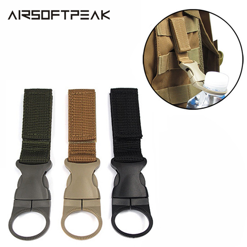 Tactical Hunting Accessories Nylon Webbing Water Bottle Carabiner Military Belt Vest Backpack Attachable Loop&Hoop Hanger Hook