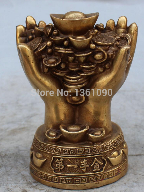 xd 002650 15CM Marked Chinese Bronze Fengshui Wealth Yuanbao Money Double Hand Hold Statue
