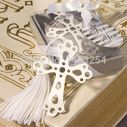 100pcs Silver CROSS BOOKMARK Christening Wedding FAVOUR Birthday GIFT Holy Communion DHL Free Shipping