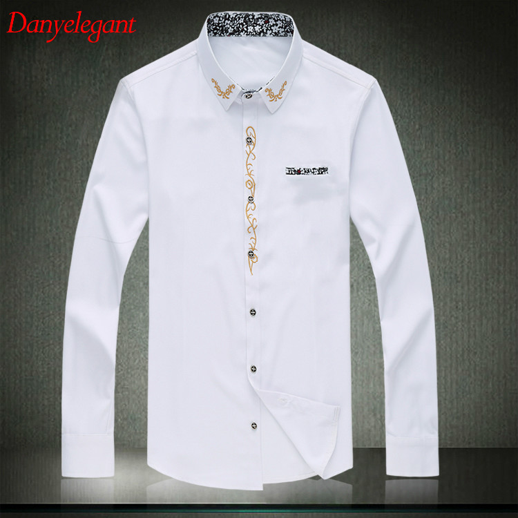 2017 new mens dress shirt 7xl large size black white men 39 s for Mens dress shirt sleeve length