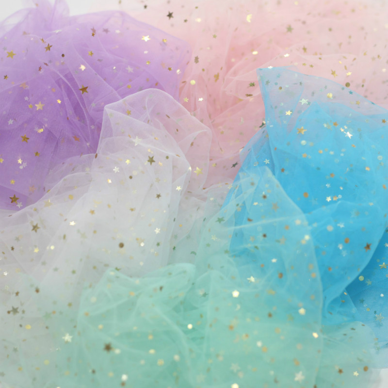 80*70cm Star Confetti Glitter Tulle Mesh Roll Spool Tutu Soft Sequin Tulle DIY Wedding Birthday Decoration Taking Pictures Props serveware
