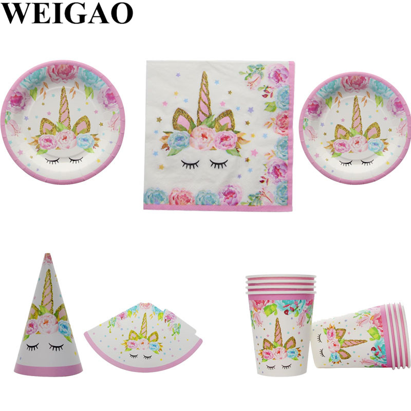 WEIGAO Unicorn Party Tableware Birthday Party Balloons Banner Cup Plate Hat Baby Shower Kids Happy Birthday Decorations Supplies