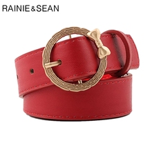 RAINIE SEAN Red Round Buckle Belts Female Bow Women Belt Leather Pin Black White Waist For Jeans Pants