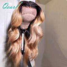 Blonde Ombre Brazilian Human Hair Wigs Lace Front Wig For Women Body Wave Remy 13x4/13x6 Middle Part with Baby Hairs Qearl