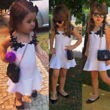 Kids Girls summer cute sleeveless White Princess Flower Formal Lace Dress For age 2-11 Y