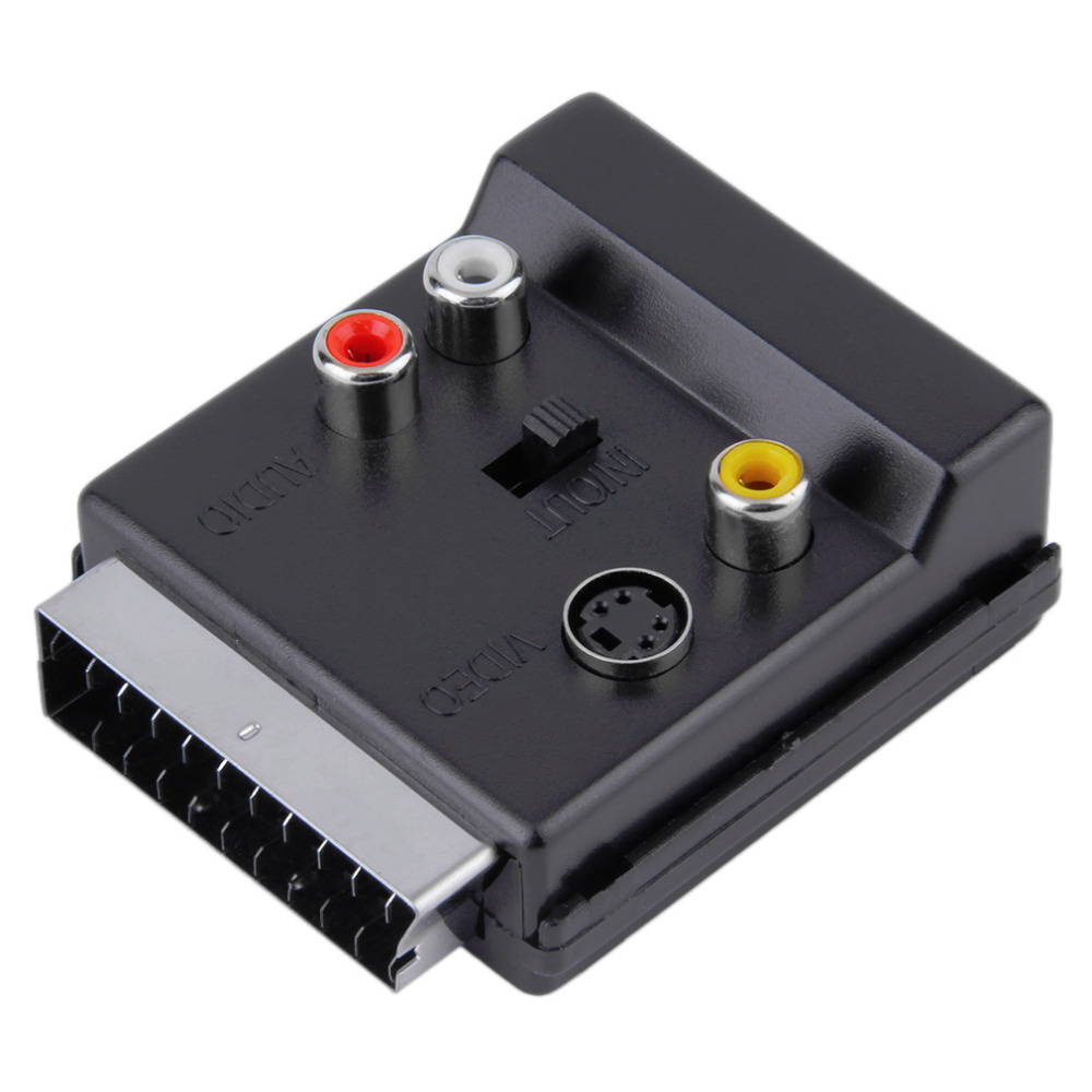 Newest Switchable Scart Male to Female S-Video 3 RCA Audio Adapter Convector rgb scart male to 3 rca female s video av tv audio cable adapter converter