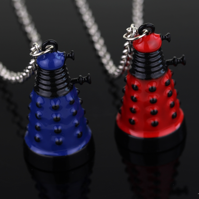 Hot Movie Dr Doctor Who Dalek Necklace Fashion Retro Alien Robot Villain Blue Red Pendant Jewelry For Men & Women Drop Shipping image