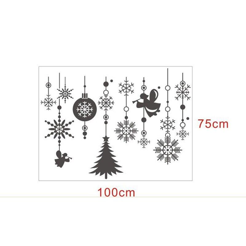 christmas tree snowflake balls hanging chain vinyl window stickers showcase glass white decorations wall stickers 100 75cm in wall stickers from home