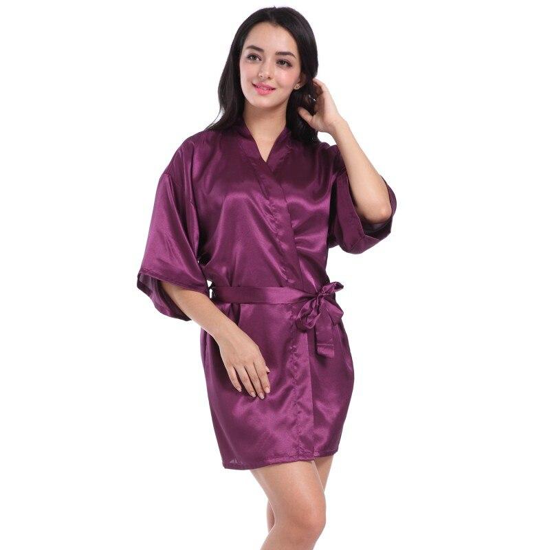 Women Sexy Diamond Letter Print Silk Belt Solid V-Neck Robes Sleepwear Half Sleeve Autumn Knee-Length Casual Sleepwear
