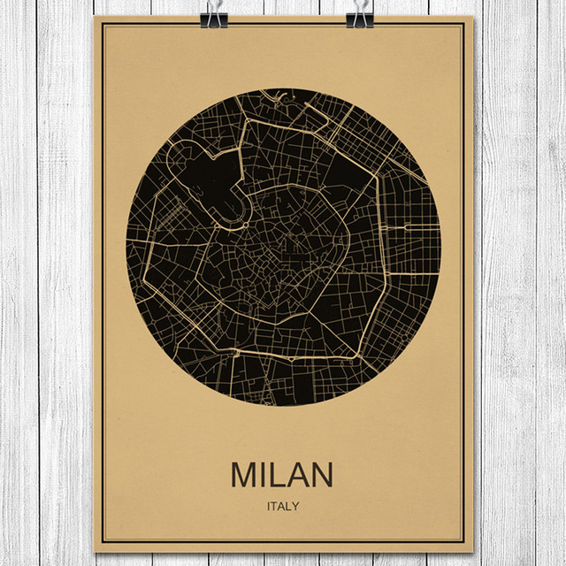 Classic italy milan world city map kraft paper vintage retro poster classic italy milan world city map kraft paper vintage retro poster wall sticker art painting living gumiabroncs Choice Image