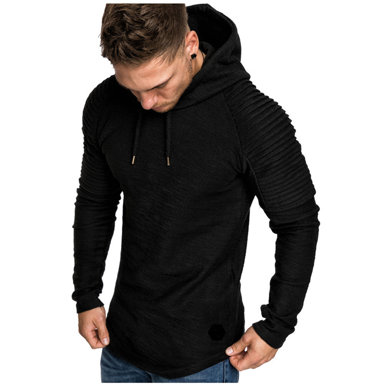 Fashion Mens Hoodies Solid Color Hooded Slim Sweatshirt Hip Hop Hoodies Sportswear Tracksuit 34