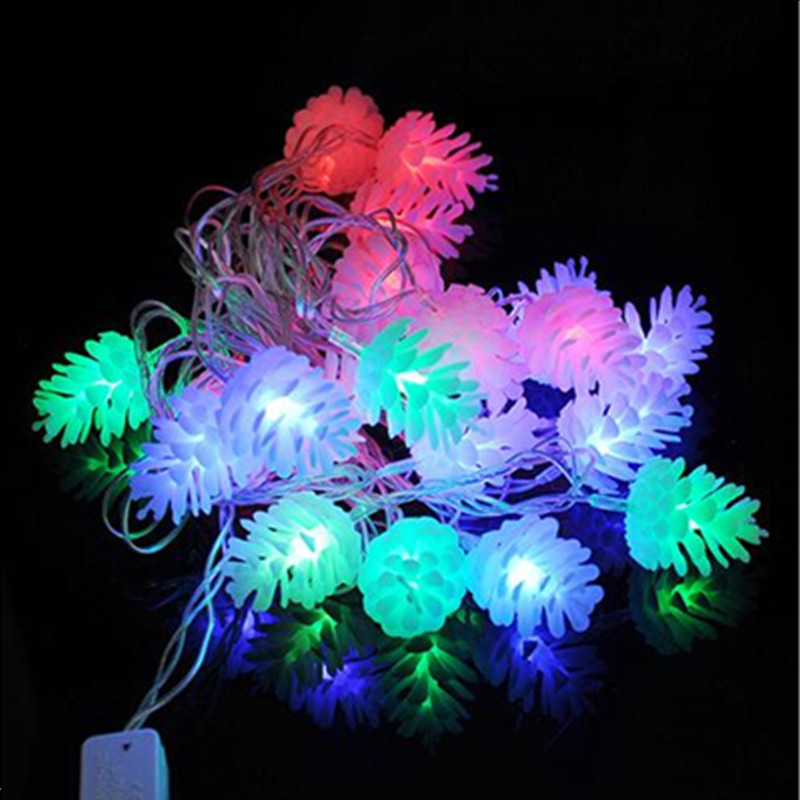 Christmas Led Strip Lights.Us 17 68 Pine Cones Led String Light 4m Xmas Led Strip Light 110v 220v 230v 50 60hz Led Holiday String Light Colorful Led Christmas Light In Led