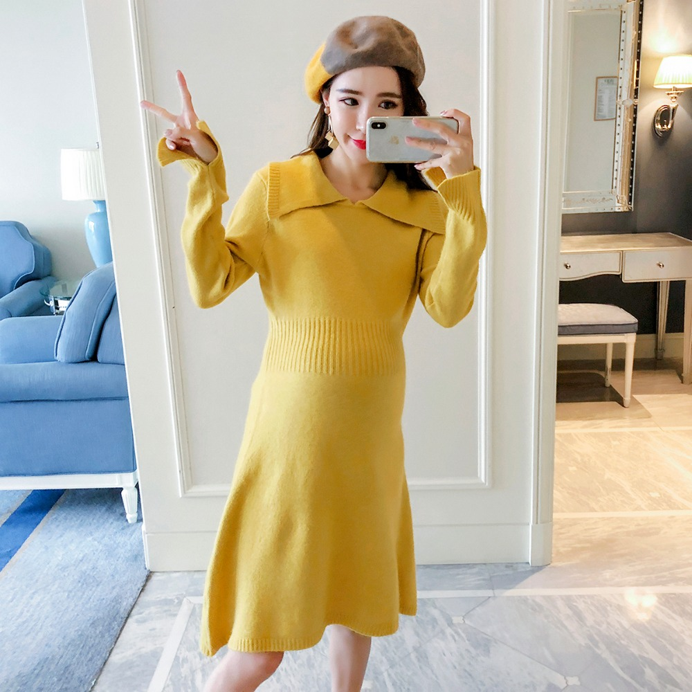 Pregnant women wear dress 2018 autumn and winter new fashion loose waist sweater skirt Korean version of the long section [eam] high quality 2018 autumn spliced organza loose lace up long section double layer collar plaid skirt fashion new set la406