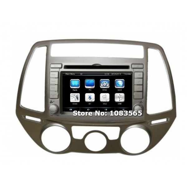 for hyundai i20 2008 2013 car radio gps navigation dvd player with map tv bluetooth audio. Black Bedroom Furniture Sets. Home Design Ideas