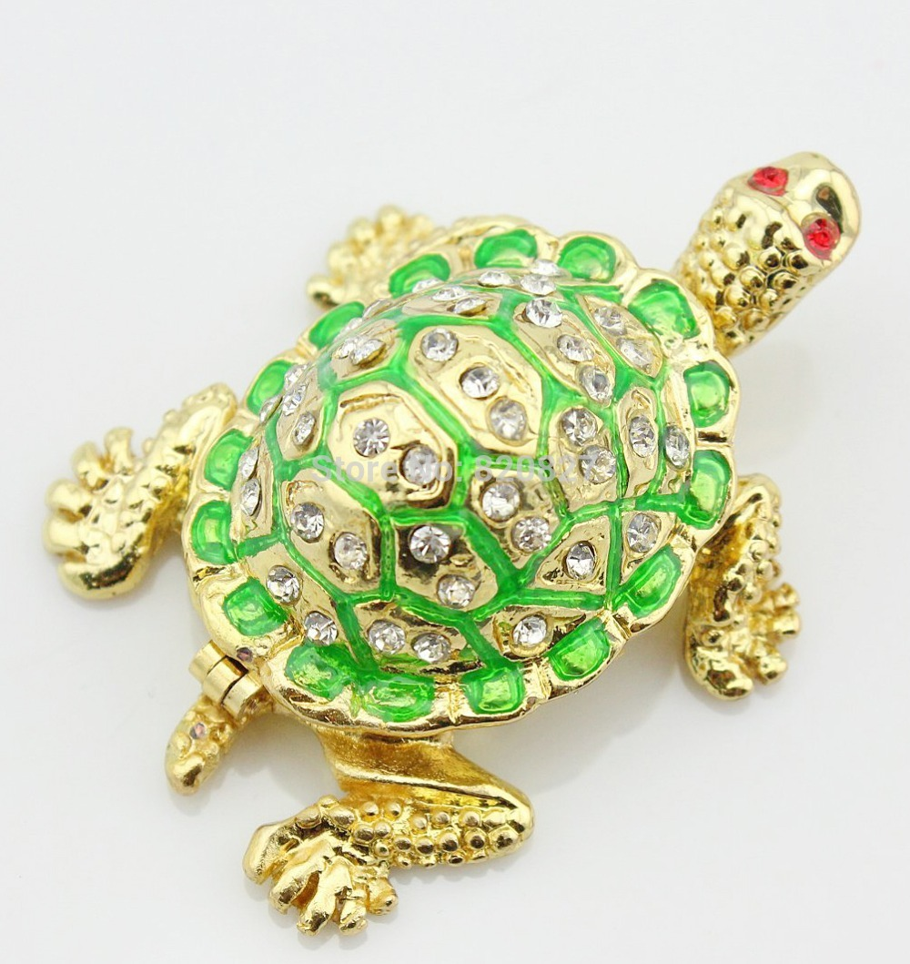 Tiny Sea Turtle Handcrafted Bejeweled Enameled Metal Trinket Box with Crystals (4.9*3.8*1.7 Cm (L*w*h))