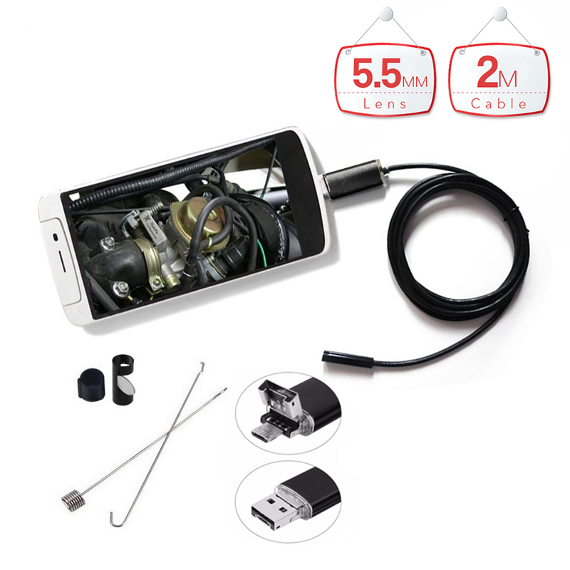 2 in 1 Endoscope USB PC Android 5.5MM 6 LED Lens Waterproof Endoscopy Inspection Borescope Camera with 2M Length Cable hd 8mm lens waterproof pc android endoscope with 1m 2m 3 5m 5m cable handheld inspection borescope for android phone pc tablet