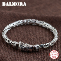BALMORA 100 Real 925 Sterling Silver Bracelets For Men Father Gift Fashion Jewelry About 20cm Vintage