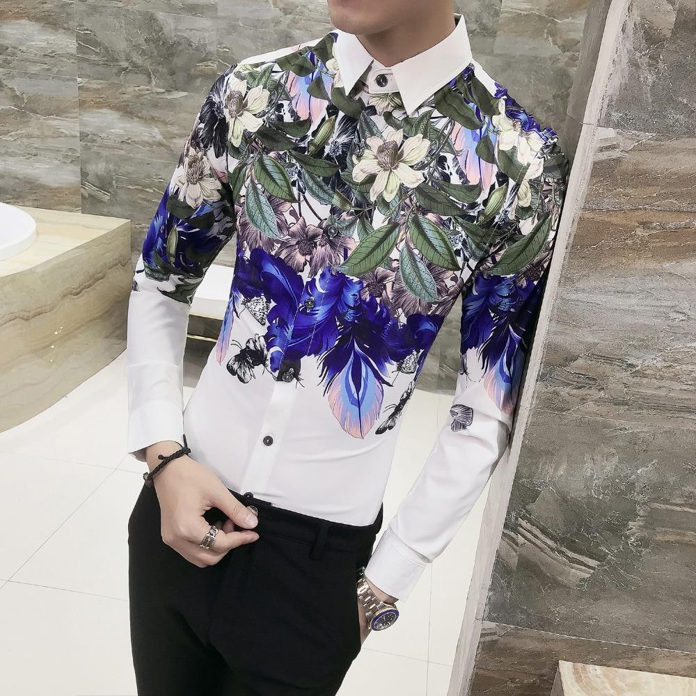 Image 3 - Мужская рубашка, облегающая, с длинным рукавом, повседневная, с принтом, для вечеринок, 2019Повседневные рубашки   -