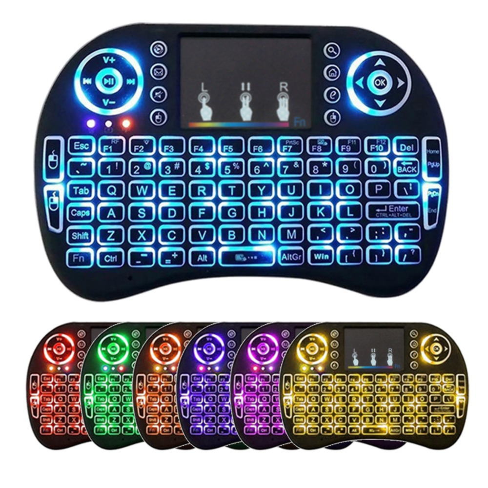 3 / 7 Color Backlight I8 Wireless Keyboard 2.4GHz With Multimedia Touchpad Fly Air Mouse PC TV PS3