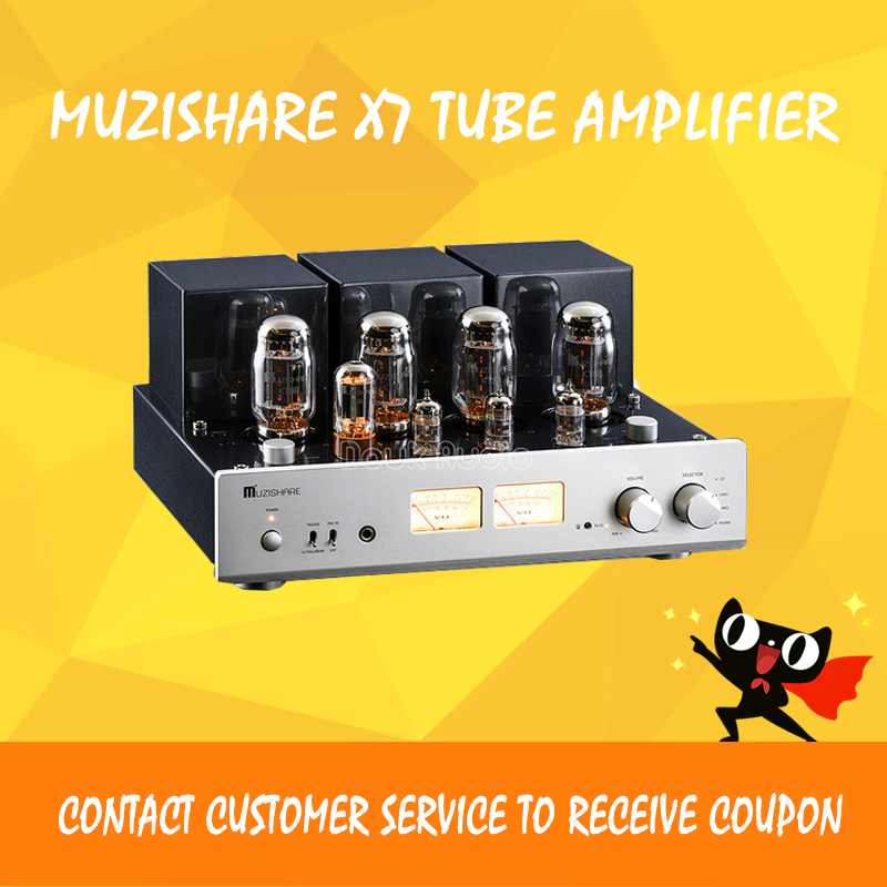 MUZISHARE X7 tube amplifier KT88 vacuum tube amplifier desktop power amplifier music hall latest muzishare x7 push pull stereo kt88 valve tube integrated amplifier phono preamp 45w 2 power amp