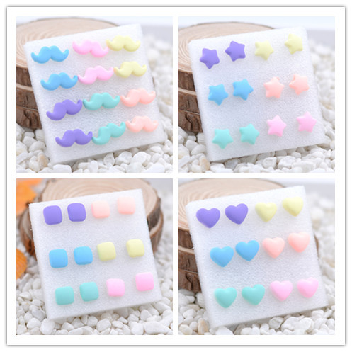 1 pair loverly colorful ear stud 2016 candy ear-nails plastic light color fastens allergy shaped stud earrings