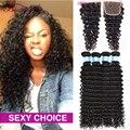 Brazilian Virgin Hair Deep Wave 4 Bundles With Closure 8a Brazilian Deep Wave Virgin Hair 4*4 Top Lace Closure With Bundles