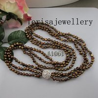 New Free Shipping A1061# Fashion Jewellery 3 Rows Brown Color Length 85CM Size 25MM,4 5MM Fresh Water Pearls Necklace