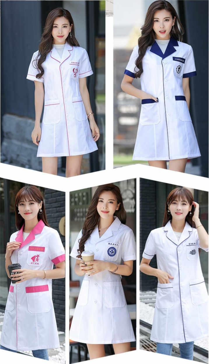 3feb55dcb4d8e С длинным рукавом Для женщин/белый Медицинский Пальто медсестра услуг  равномерное Медицинского Скраб одежда белый