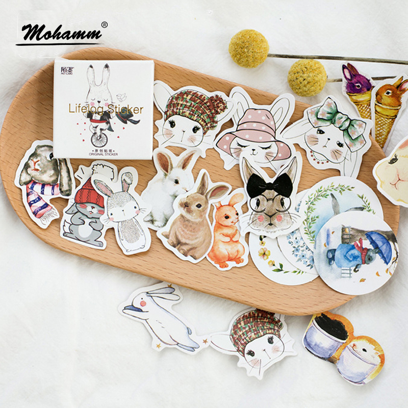 45Pcs/box Creative Rabbit Papers Stickers Flakes Vintage Romantic Love For Diary Decoration Diy Scrapbooking Stationery Sticker45Pcs/box Creative Rabbit Papers Stickers Flakes Vintage Romantic Love For Diary Decoration Diy Scrapbooking Stationery Sticker