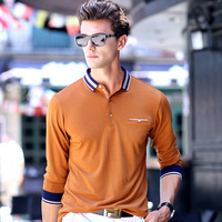 2017 Spring Men Long Sleeve Polo Shirt Turn Down Neck Solid Brief Shirt For Male Breathable