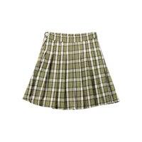 2019 Ретро дикая текстура Высокая талия шотландский Гладкий плиссированная юбка