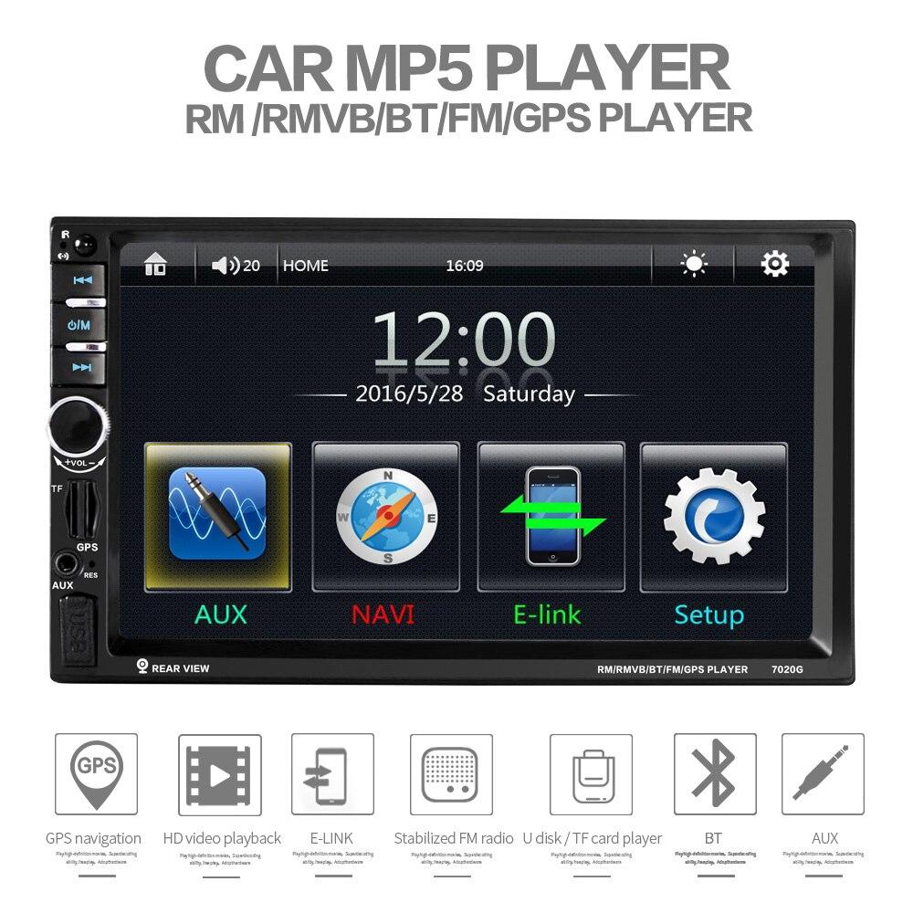 imágenes para 7020G doble 2 DIN coche reproductor de audio de radio auto bluetooth 12 V 7 pulgadas 2din autoradio Pantalla Táctil de Navegación GPS FM Estéreo USB TF