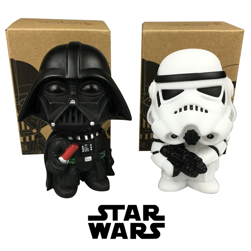 2017 2pcs/lot 10CM Q Style Star Wars Darth Vader & STORM TROOPER Action Figure Model starwars Toys kids Birthday gift