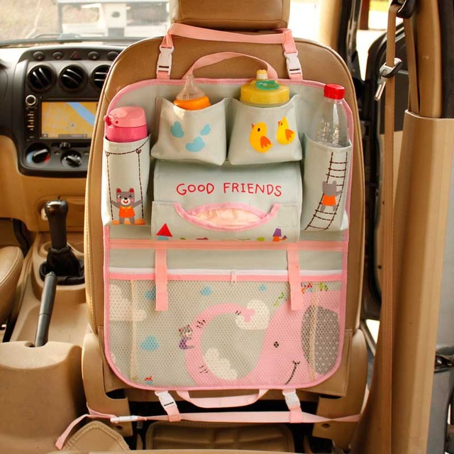 Cartoon Cute Car Back Seat Storage Bag Hanging Store Food Beverage Large Capacity Multifunction Organizer Accessories Products
