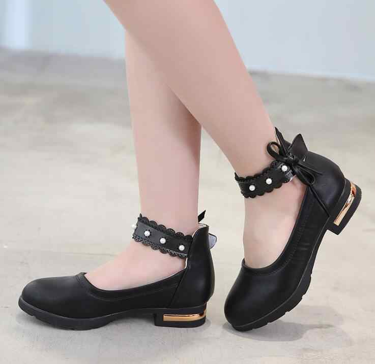 Small high heels Girls leather shoes