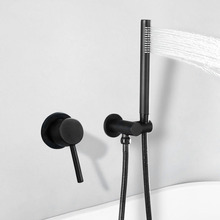 Simple Bathroom Shower Set Wall Mounted Cold And Hot Water Mixer Faucet With Handheld Shower Black frap wall mounted shower bathroom faucet cold