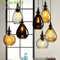 Vintage Handmade Glass E27 Pendant Light for Dining Room Living Room Aisle 3 Colors AC 80-265V 2132