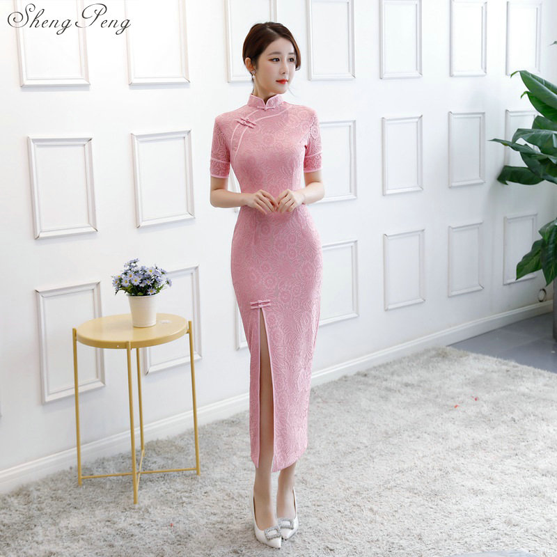 New Cheongsam Dress Long Lace Evening Dresses Vintage Elegant Lace Lady Chinese Traditional Cheongsam Sexy  Party Qipao V864